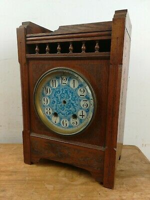 Oak arts crafts mantel clock case ceramic glass face old restoration project