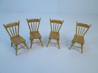 Vintage Set of 4 Dinning Room Chairs Dollhouse 1:12 Scale Miniature Handcrafted