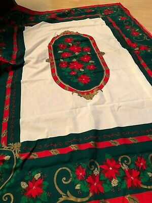 "Red Green Poinsettia Christmas Holiday Table Cloth 68"" x 50"""