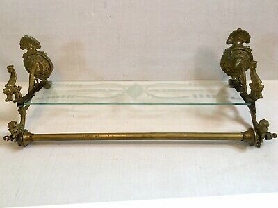 Rare Antique Victorian Ornated Figural Bathroom Glass Brass Towel Wall Shelf