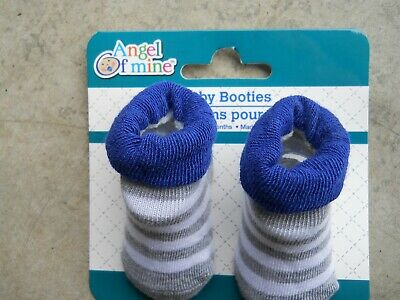 Yellow Rubber Duck Ducky Baby Boy New Born Blue Stripe Booties Socks