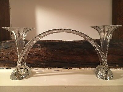 Antique Victorian Glass Centrepiece Vase with Two Flutes