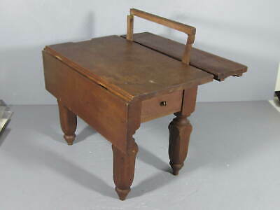 Antique Walnut Patent Model Miniature Drop Leaf Table w/ Lots of Additions