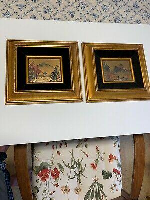Pair Of Japanese Landscape Watercolors Or Ink Washes By Hiroko Borish