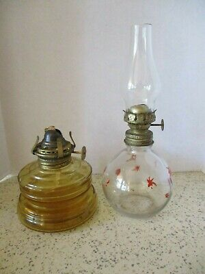 2 Vintage Oil Lamps, Amber Glass Base & Brass Burner & Clear Glass Mini Lamp