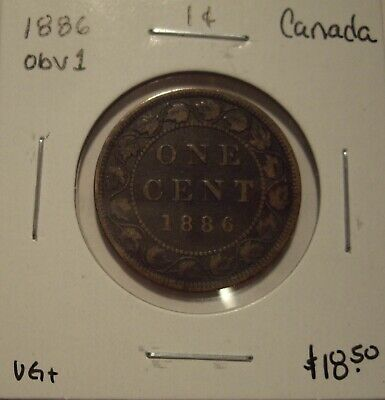 Canada Victoria 1886 Obv 1 Large Cent - VG+