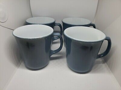 LOT OF 4 Vintage PYREX COFFEE CUPS MUGS Blue Slate Milk Glass D Handle EUC