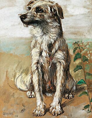 Sitting Dog by Italian Artist Vincenzo Gemito. Dog Art Repro on Canvas or Paper