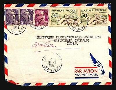 France (Guadeloupe) 1954 Airmail Cover to India (Edge Tear) - Z16604