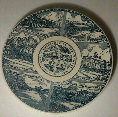 vintage porcelain collector plate souvenir 1967 East Stroudsburg, Pa. 10 INCHES