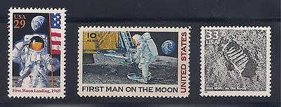 Apollo 11 - First Man On The Moon - 3 U.s. Postage Stamps - Mint Condition