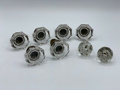 Lot of 8 Vintage Antique Glass Knobs Pull Heptagon Round Architectural Hardware
