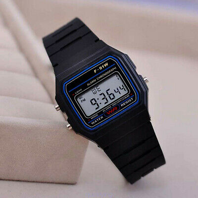 F-91W LED Digital Wristwatch Silicone Sport Watch Strap Alarm Kids Gift Black