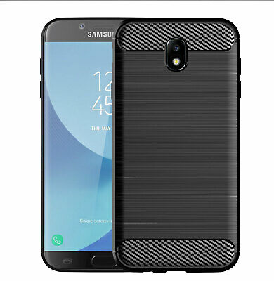 For Samsung Galaxy J7 Pro Brushed Carbon Fiber Silicone Anti-fall Soft Case Cove
