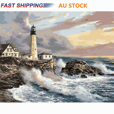 Framed 40*50cm Canvas Paint By Number Kit Lighthouse Sea Gift Home Wall Decor
