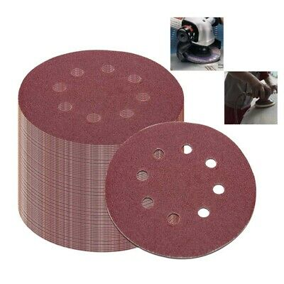 10X(50Pcs 5 Inch 125Mm Round Sandpaper Eight Hole Disk Sand Sheets Grit 40/60/80