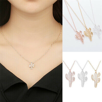 Fashion Stainless Steel Cactus Pendant Chain Necklace Charm Women Hollow Jewelry