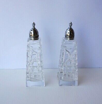 Pair Vintage Art Deco Cut Crystal Salt Pepper Shakers with Chrome tops & Finials