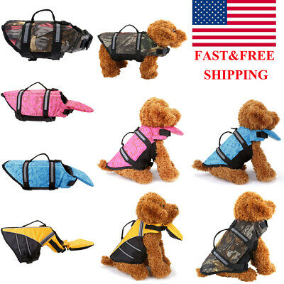 Pet Dog Puppy Saver Life Jacket Vest Reflective Preserver Aquatic Sailing XS-L