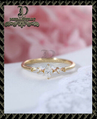 1ct Marquise Brilliant Diamond Solitaire Engagement Ring 10K Yellow Gold Finish