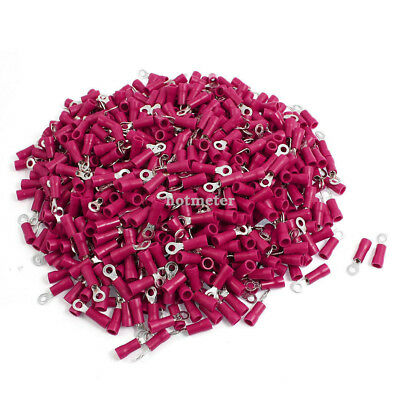 H● 1000pcs RV1.25-3.2 A.WG 22-16 Sleeve Pre Insulated Ring Terminals Connector