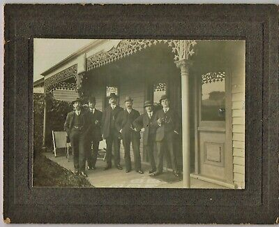 ANTIQUE REAL PHOTO ON CARD: 6 x MEN IN SUITS Victoria dated 1924 15x10.5cm