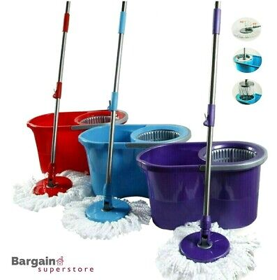 360° Spin Microfiber Rotating Mop Bucket Floor Cleaner Adjustable Handle Head