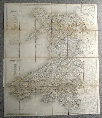 1836 Linen Backed Antique folding MAP of WALES Hand Coloured Welsh History Roads