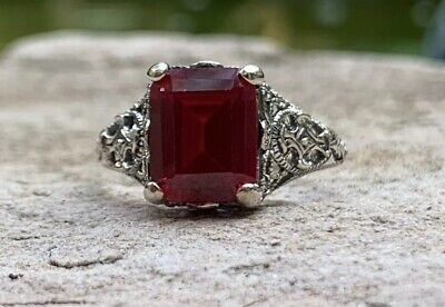 Gorgeous Victorian Era Ruby 925 Sterling Silver Edwardian Replica Ring Size 6