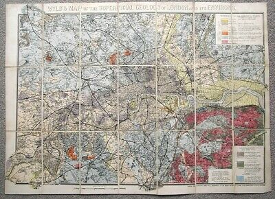 1880 Wyld's GEOLOGICAL MAP of LONDON Area Hand Coloured Linen Mounted GEOLOGY