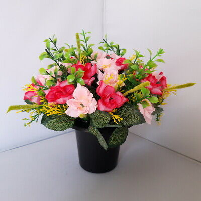 Pink Roses Arrangement | Artificial Flower Pot | Grave/Memorial/Crem
