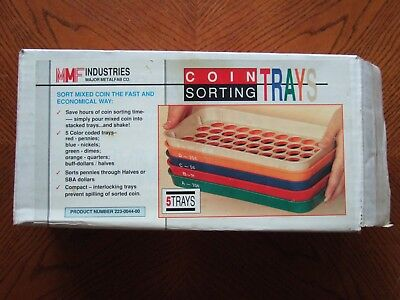 MMF Coin Sorting Trays 5 Pc Color-Coded Set Halves Quarter Dimes Nickels Pennies