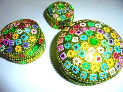 3 Decorative Trinket Boxes Christmas Diwali Gifts Handmade India Home Decor Ebay