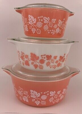 Vintage Set of 3 PYREX PINK GOOSEBERRY Casseroles #473,#474,#475 With Lids