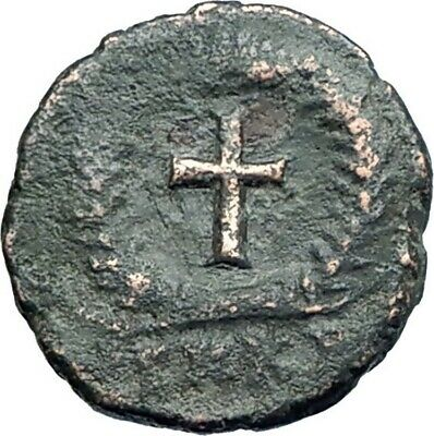 THEODOSIUS II 425AD Authemtic  Ancient Roman Coin Cross within wreath  i79283