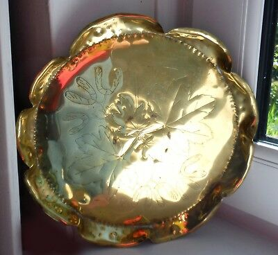 EARLY ARTS & CRAFTS BRASS TRAY/SALVER-c1880/90-HAND CRAFTED ^