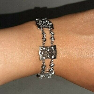 Nice Bangle Bracelet 925  Sterling Solid Silver Crystal Cuff Charm Women Jewelry