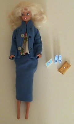 Business Suit Barbie Outfit Toy Dollhouse Doll Blue Coat Skirt Flower Shirt 11.5