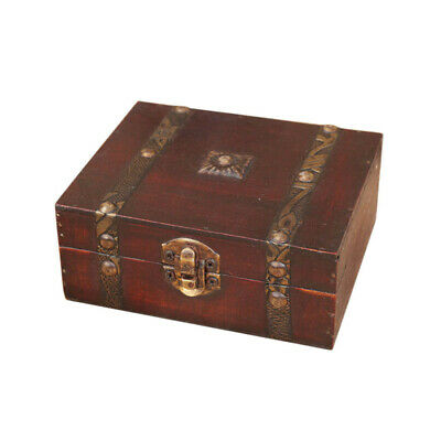 Decorative Trinket Jewelry Storage Box Handmade Vintage Wooden Treasure Case