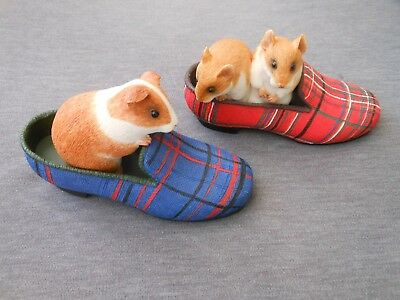 The House of Valentina Collection hamsters and guinea pig in tartan slippers