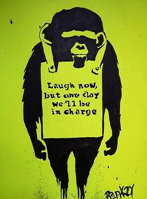 Banksy/Graffiti Replica painting (Laugh Now, But One Day We'll Be Charge)