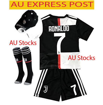 EXPRESS New 2020 Kids Soccer Jersey Juventus #7 Ronaldo Kit Top+Short+ Cap socks