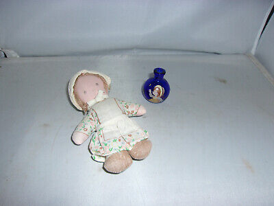 Alte Stoff-Puppe-Heather+Gas-Vase-Knickerbocker-USA-70er Jahre-doll-poupee