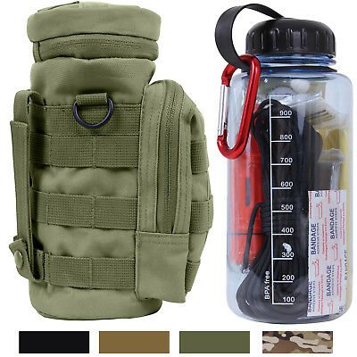 Survival Kit in Water Bottle with Tactical Pouch Camping Outdoor MOLLE Belt Bag