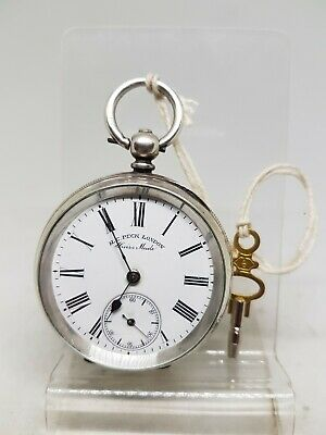 Antique solid silver gents H.E. Peck London pocket watch c1900 working ref618