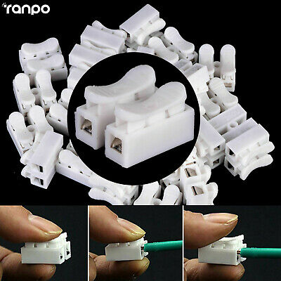 20x 2 Pins Electrical Cable Connectors Terminal Block CH2 Quick Splice Lock Wire
