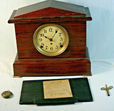 Seth Thomas Adamantine Wooden Mantel Clock 1880's w/ Key and Pendulum 296C PARTS