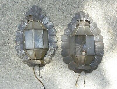 2 Vintage Antique Tin Wall Sconces Clear Leaded Glass Panels Pennsylavania Dutch