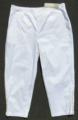 NEW $79 ZENERGY by CHICO'S White Stretch KATHARINEPull On Crop Pants 00 US 2 4