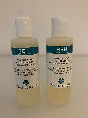 2 x REN Atlantic Kelp & Magnesium Anti-Fatigue Body Wash - 100ml each - TRAVEL